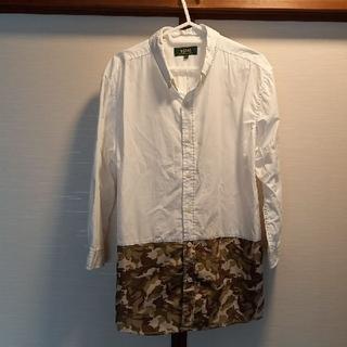 MONSIEUR NICOLE - MONSIEUR NICOLE綿シャツ七分袖切替カモフラ白48新品同様