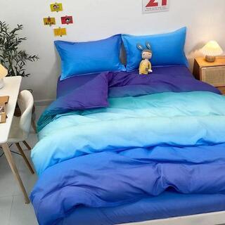 ブルー シングル 掛け布団カバー ベッドカバー 四季通用丸洗い可能 柔かい