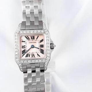 カルティエ(Cartier)の【仕上済】カルティエ サントスドゥモワゼル SM ピンクシェル ダイヤ 腕時計(腕時計)