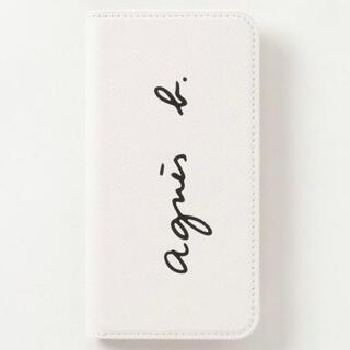 アニエスベー agnes b ロゴ 手帳型 レザー iPhoneケース 白