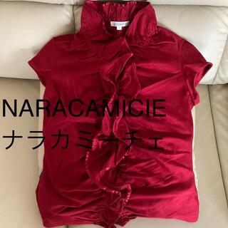 NARACAMICIE - ナラカミーチェ 赤半袖フリルブラウス 9号相当