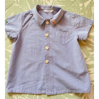 ファミリア(familiar)のファミリア チェックシャツ ネイビー 刺繍 半袖(シャツ/カットソー)