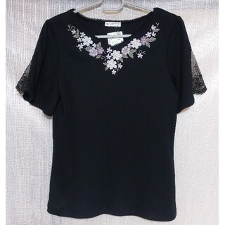 axes femme - 新品 未使用 アクシーズファム トップス 半袖 刺繍 レース 黒
