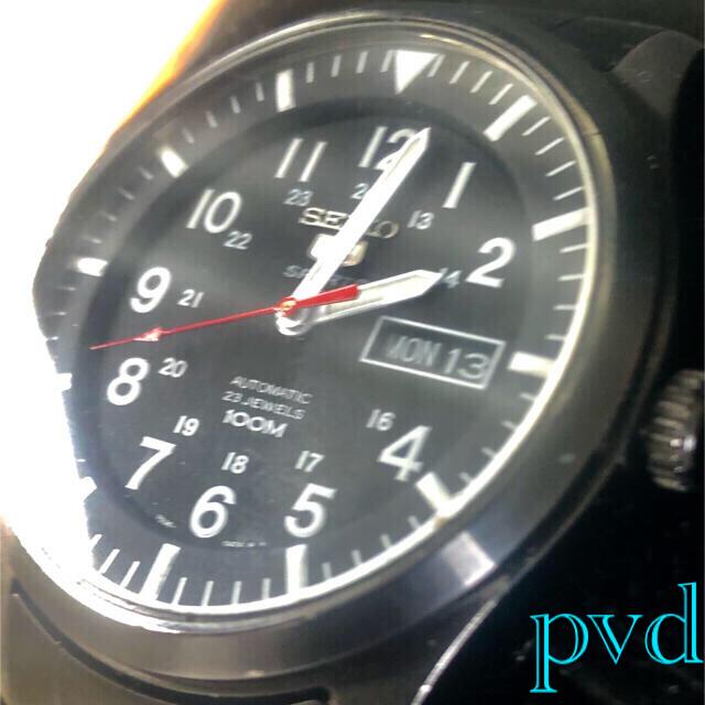 SEIKO(セイコー)のSEIKO逆輸入5スポーツミリタリー自動巻レアーpvdブラック加工ベルト❌2美品 メンズの時計(腕時計(アナログ))の商品写真