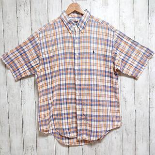 ラルフローレン(Ralph Lauren)のラルフローレン 半袖シャツ メンズ 美品 オレンジとグレーのチェック(シャツ)