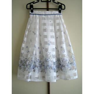 トッコ(tocco)のtocco closet トッコクローゼット シアーチェック花柄スカート(ひざ丈スカート)