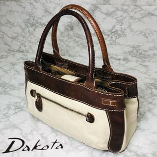 ダコタ(Dakota)の【美品】Dakota  ダコタ ハンドバッグ キャンバス×レザー オフホワイト(ハンドバッグ)