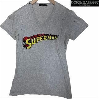 ドルチェアンドガッバーナ(DOLCE&GABBANA)のJ4059名作 ドルチェ&ガッバーナ スーパーマンクラッシュ加工Tシャツ灰46(Tシャツ/カットソー(半袖/袖なし))