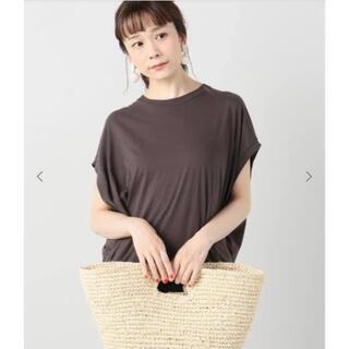プラージュ(Plage)のplage リヨセルハイゲージTシャツ ブラウン プラージュ ノースリーブ(Tシャツ(半袖/袖なし))