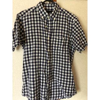 ジーユー(GU)のGU 青色チェック 半袖シャツ メンズ(シャツ)