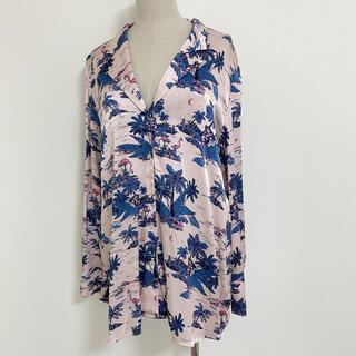 エイチアンドエム(H&M)のH&M フラミンゴ柄長袖シャツ ピンク×ブルー系 サイズ36(シャツ/ブラウス(長袖/七分))