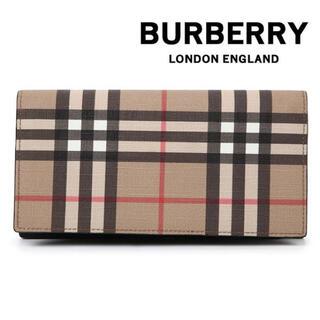 バーバリー(BURBERRY)の【新品】バーバリー BURBERRY 長財布 チェック ベージュ ウォレット(長財布)