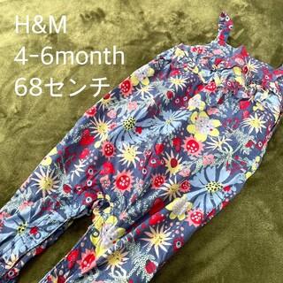 エイチアンドエム(H&M)のH&M ベビーサロペット つなぎ 花柄 4-6month 68センチ(パンツ)
