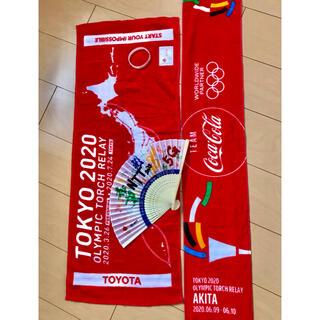 コカコーラ(コカ・コーラ)のオリンピック タオル 扇子 秋田(記念品/関連グッズ)