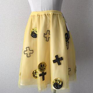 キャンディーストリッパー(Candy Stripper)のCANDY STRIPPER チュールスカート イエロー サイズ2 タグ付き(ひざ丈スカート)