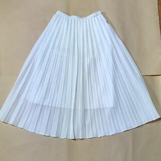 ユニクロ(UNIQLO)のUNIQLO  白  プリーツスカート(ロングスカート)