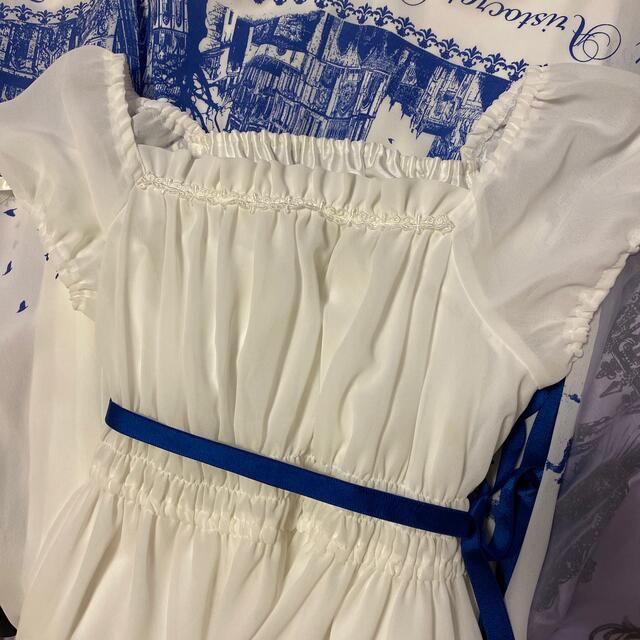 ATELIER BOZ(アトリエボズ)のサイレントムーン 白×青 ロングワンピース レディースのワンピース(ロングワンピース/マキシワンピース)の商品写真