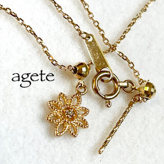 agete - agete【アガット】K10YG*フラワーブレスレット*カットボール*