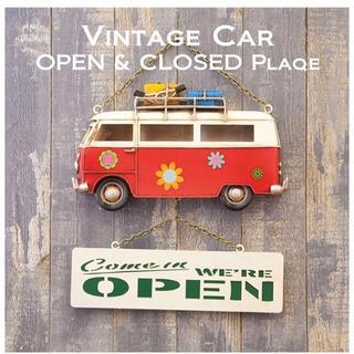 ヴィンテージカー プラッケ[RED BUS]オープン・クローズ(ウェルカムボード)