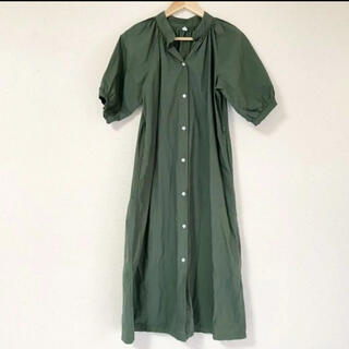 ZARA - 襟の形が可愛い(๑˃̵ᴗ˂̵)✨‼️ふんわり袖❤️カーキロングワンピース