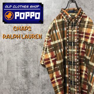 ラルフローレン(Ralph Lauren)のチャップスラルフローレン☆チロリアンテープレトロ総柄半袖チェックシャツ 90s(シャツ)