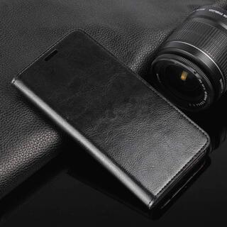 アクオス(AQUOS)のAQUOS用マグネット無し 手帳型ブラック レザー スマホケース スマホカバー(Androidケース)