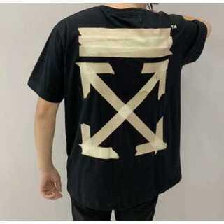 ガムテープ メンズ レディース Tシャツ オーバーサイズ 黒  ペアルック(Tシャツ/カットソー(半袖/袖なし))