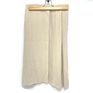 シャネル(CHANEL)のシャネル P15067 00C ロゴボタン シルク スカート ベージュ(ひざ丈スカート)