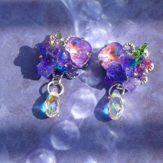 紫陽花をイメージしたピアス パープル