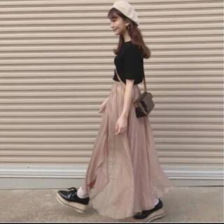Lily Brown - リリーブラウン 光沢シースルー フレアスカート