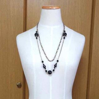 ボールチェーンネックレス 二重ネックレス ロングネックレス ブラック(ネックレス)