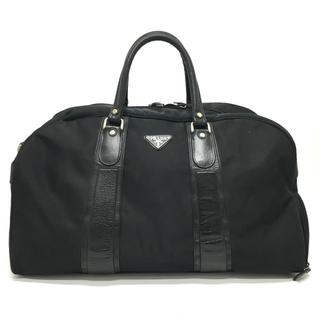 プラダ(PRADA)のプラダ ロゴプレート サイド収納 ボストンバッグ 鞄 トラベルバッグ ブラック(ボストンバッグ)