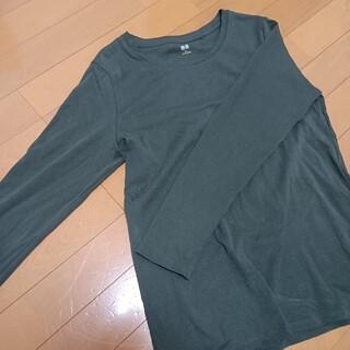 ユニクロ(UNIQLO)の深緑 ユニクロ ロングTシャツ(Tシャツ(長袖/七分))