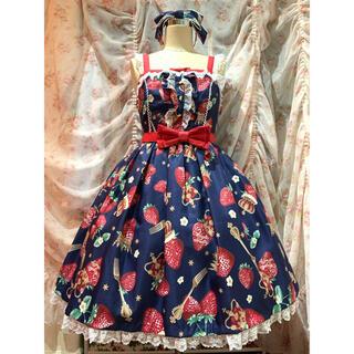 アンジェリックプリティー(Angelic Pretty)のRoyal Crown Berry SpecialジャンパースカートSet コン(ひざ丈ワンピース)
