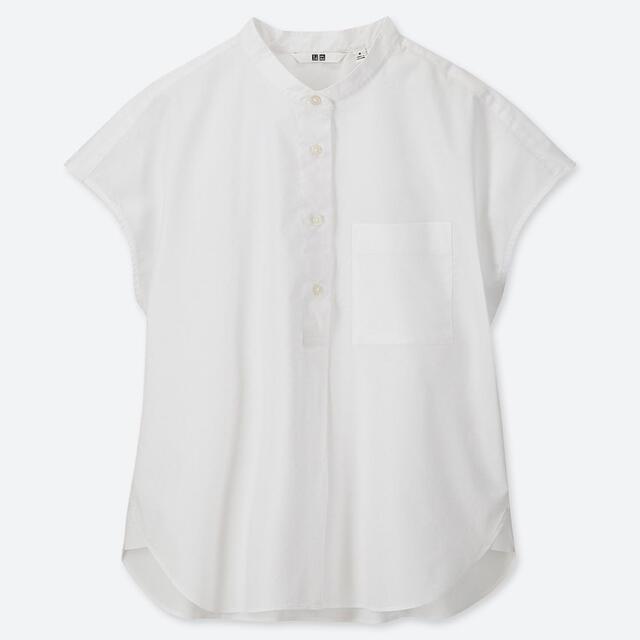 UNIQLO(ユニクロ)のユニクロ コットンスタンドカラーシャツ レディースのトップス(シャツ/ブラウス(半袖/袖なし))の商品写真