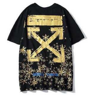 ゴールド メンズ Tシャツ 黒 ブラック オフホワイト レディース ペアルック(Tシャツ/カットソー(半袖/袖なし))