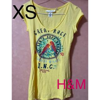 エイチアンドエム(H&M)のH&M イエローTシャツ XSサイズ(Tシャツ(半袖/袖なし))