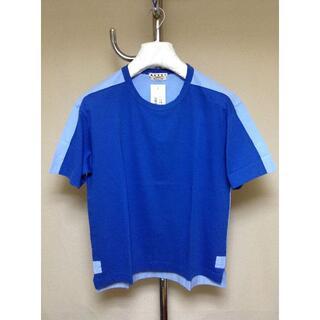 マルタンマルジェラ(Maison Martin Margiela)の新品 46 18aw marni 切り替えTシャツ 青 7867(Tシャツ/カットソー(半袖/袖なし))