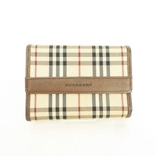 バーバリー(BURBERRY)のノバチェック×レザー 三つ折り 財布 ウォレット ベージュ×ブラウン 茶 ■WY(財布)