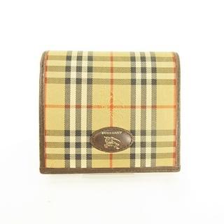 バーバリー(BURBERRY)のノバチェック × レザー 二つ折り 財布 がま口 ウォレット ベージュ ■WY(財布)