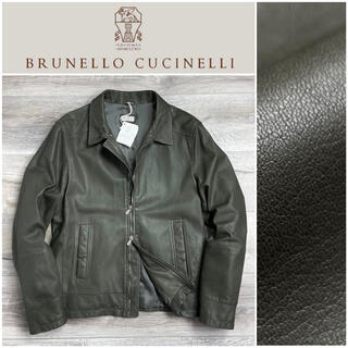 BRUNELLO CUCINELLI - D4★新品★70万 ブルネロクチネリ レザージャケット グレー グリーン S