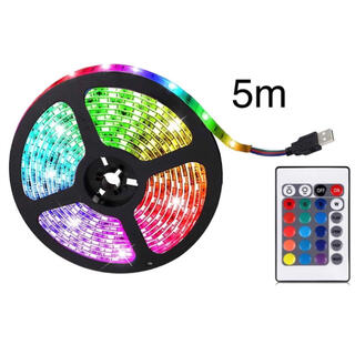 LEDテープ 5m  USB電源 イルミネーションライト ledライト 間接照明(蛍光灯/電球)
