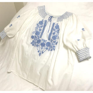 フラワー(flower)のヨーロッパ 刺繍 ブラウス vintage  (シャツ/ブラウス(半袖/袖なし))