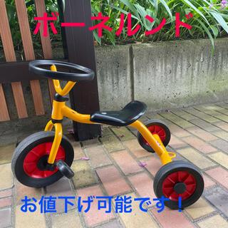 ボーネルンド(BorneLund)のボーネルンド ペリカンデザイン 丸ハンドル黄色三輪車大幅値下(三輪車)