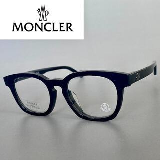 モンクレール(MONCLER)のモンクレール ウェリントン ブラック 黒 アジアンフィット メガネ 黒縁 ML(サングラス/メガネ)