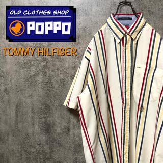 TOMMY HILFIGER - トミーヒルフィガー☆オールド刺繍ロゴ半袖マルチストライプシャツ 90s