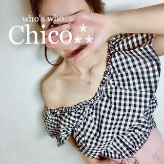 who's who Chico - 新品🍨タグ¥6372【Chico】ギンガムオフショルフリルブラウス