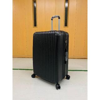 中型軽量スーツケース 8輪静音キャリーバッグ TSAロック付き Mサイズ 黒(旅行用品)