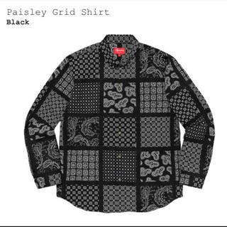Supreme - SUPREME 2020SS Paisley Grid Shirt 美品 黒