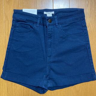 エイチアンドエム(H&M)のH&M  紺 ショート ハイウエスト パンツ 新品未使用 エイチアンドエム(ショートパンツ)